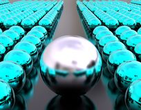 Strong Leader concept. 3D render image of rows of sphere in blue color folowing a big gray sphere representing a strong leader concept Stock Photography