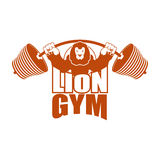 Strong lion emblem. Leo and barbell logo for gym and sports team Stock Photos