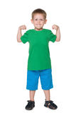 Strong little blond boy Stock Image