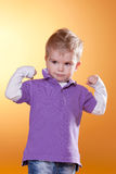 Strong Little Boy Show Muscles Stock Photos