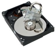 Strong Lock on Top of Hard Disk Royalty Free Stock Photos