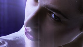 Strong look of science fiction movie woman robot stock footage