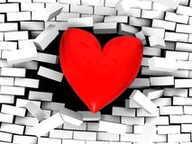 Strong love. 3d illustration of stylized red heart breaking wall Royalty Free Stock Photo