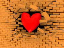 Strong love. 3d illustration of heart breaking brick wall Stock Photography
