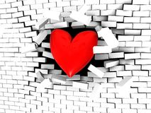 Strong love. 3d illustration of stylized heart breaking white brick wall Royalty Free Stock Photo