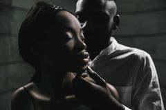 Strong love connection. African American couple. Young fashionab. Portrait of a beautiful African American couple stock image