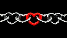 Strong love. Metallic Chains shaped like a heart Locked with a red one in the middle. strong love. valentine day. isolated in black background Stock Photos