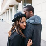 Strong love relationship. African American couple Royalty Free Stock Photos