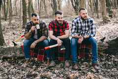 Strong lumberjack chopping wood Royalty Free Stock Photos