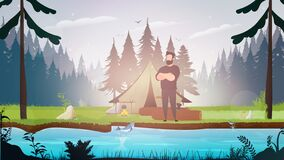Strong lumberjack. The guy folded his arms over his chest. Large logs and an ax. Vector