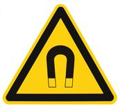 Strong Magnetic Field Warning Sign Isolated Label, Hazard Safety Caution Attention Danger Risk Concept, Yellow Black Notice. Vertical Adhesive Triangle Sticker Royalty Free Stock Images