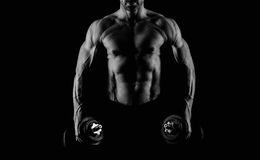 Strong male abs in black and white Royalty Free Stock Images