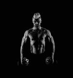 Strong male abs in black and white Royalty Free Stock Photo