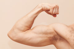 Strong male arm with biceps. Close up photo stock photo