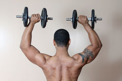 Strong male lifting dumbbell stock photography