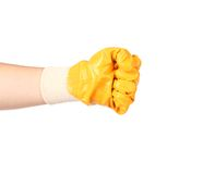 Strong male worker hand glove clenching fist. Royalty Free Stock Photos