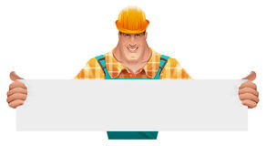 Strong male worker holding blank banner. Man in overalls. Worker in helmet. Cartoon illustration in vector format Royalty Free Stock Photo