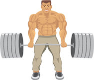 The strong man. With weight isolated on white Royalty Free Stock Photos