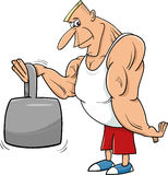 Strong man athlete cartoon illustration. Cartoon Illustrations of Athlete or Strong Man Sportsman with Weight stock illustration