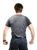 Strong man backside view. Isolated on white Royalty Free Stock Image