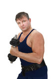 Strong man with barbell Royalty Free Stock Photo