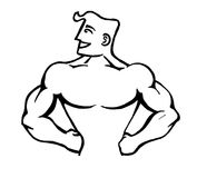 Strong man. Black and white caricature illustration of strong man Stock Photo