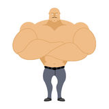 Strong man. Bodybuilder, athlete on a white background. Man with Royalty Free Stock Photo