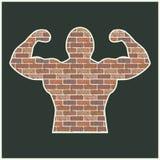 Strong man of bricks Royalty Free Stock Image
