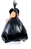 Strong man carry garbage in bag for eliminate. Strong man hand in orange gloves carry garbage in plastic bag for eliminate on the white background Stock Photos