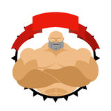 Strong man in circle. Logo for  fitness room or sports team. Vec Royalty Free Stock Photo