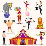 Strong man and circus tent, meme artist and clown. Circus tent and set of isolated icons for strong man holding barbell weights, lion and elephant on ball, meme Royalty Free Stock Photography