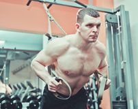 Strong man. Does crossfit push ups with fitness straps at gym royalty free stock photography