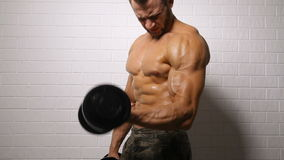 Strong man doing exercise with dumbbells