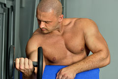 Strong man exercising  with barbell. Royalty Free Stock Images