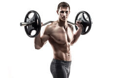 Strong man exercising fitness body building exercises with a barbell. Isolated on white background Royalty Free Stock Photography