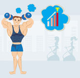 Strong man exercising in the gym Royalty Free Stock Photos