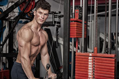 Strong man exercising in the gym Stock Photo