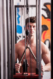 Strong man exercising in the gym Stock Images