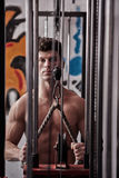 Strong man exercising in the gym Royalty Free Stock Photo