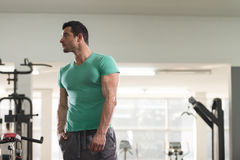 Strong Man in Green T-shirt Background Gym Royalty Free Stock Photos