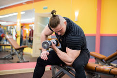 The strong man in the gym doing biceps exercises.  Stock Images