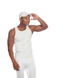 Strong man with hat looking something Stock Images