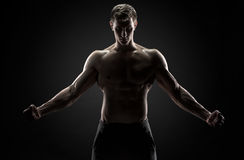 Strong man with his arms stretched out, looking at camera Royalty Free Stock Image