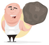 Strong Man Holding Big Boulder. Illustration of a cartoon strong mighty man holding easily a big boulder as if it was a feather Stock Image
