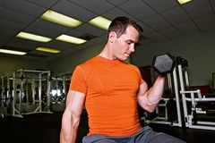 Strong Man Lifting Weights. A strong man with large muscles straining to lift weights at a gym Stock Photography