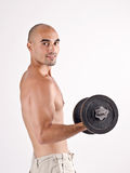 Strong man lifting weights for the biceps. Stock Image