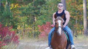 A strong man with a powerful body in a black t-shirt in sunglasses rides a horse. Close up Royalty Free Stock Image