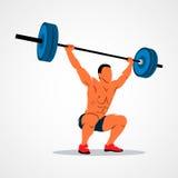 Strong man powerlifting. Strong man lifting weights powerlifting weightlifting. Vector illustration Royalty Free Stock Photography