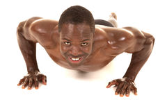 Strong man push up front smile Stock Image