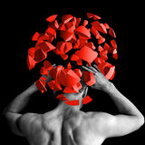 Strong man with red brain explosion on black, 3d. Strong man with red brain explosion fragments on black background, 3d illustration concept Royalty Free Stock Photography